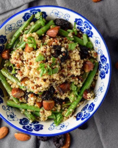 Quinoa Bowl with Green Beans, Almonds, and Cherries