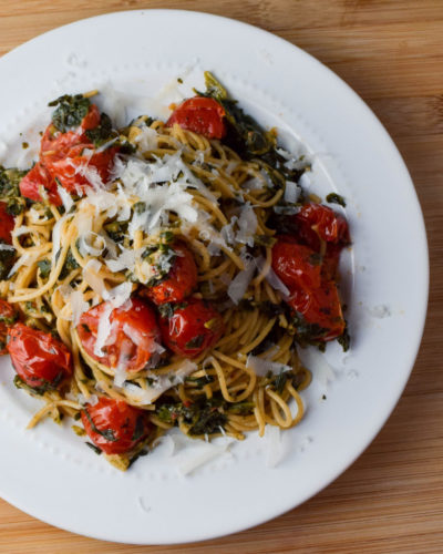 Cherry Tomato and Spinach Pasta