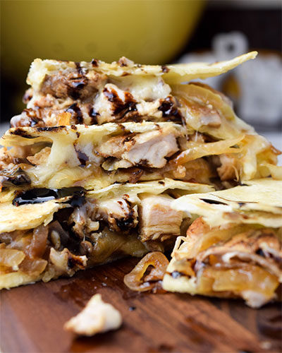 French Onion Cheese and Chicken Quesadilla